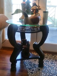 Vintage center Table cherry wood and wrought iron