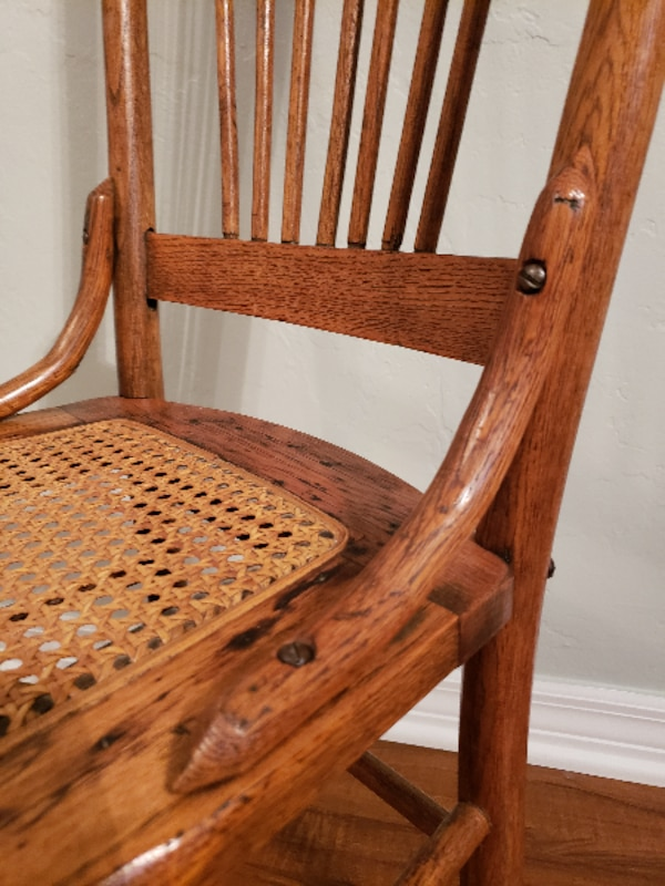 Vintage Antique Solid Oak Wood Chair With Cane Seat Side Accent Extra