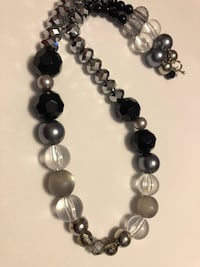 Black and gray beaded necklace  hand crafted jewelry  Leeds, 12451