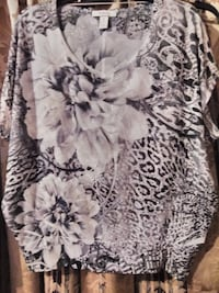 white and gray floral blouse Harlingen