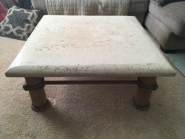 Unique Stone/Metal Finish Coffee Table bf1e59de-7bd0-45e2-a186-1395907252a4