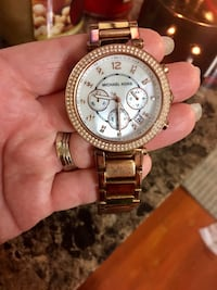 round gold Michael Kors chronograph watch with link bracelet El Cajon