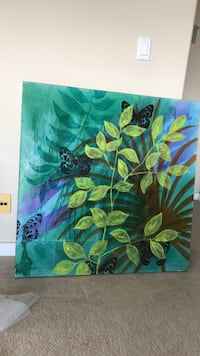 green and blue flower painting Edmonton, T5H 3Y3