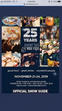 Gourmet food and wine expo tickets  Vaughan, L4H 1G5