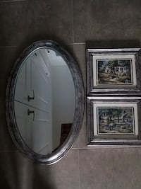 round gray wooden framed mirror 591 km