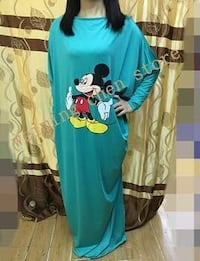 blue Mickey Mouse long-sleeved maxi dress