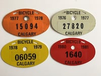 Lot of 4 - 1970s & 1980s Vintage Calgary Bicyle Plates
