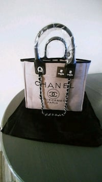 brown and white leather tote bag 2062 mi