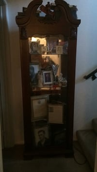 Brown wooden framed glass display cabinet Los Angeles, 91343
