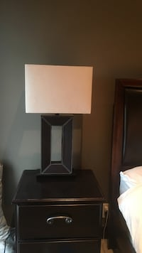 brown table lamp with white suede lampshade Calgary, T2T 2B5