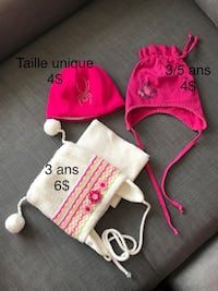 two toddler's pink knit cap and chullo cap Longueuil, J4G 2G7