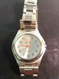 round silver swiss army watch with silver link b