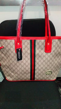 women's red, brown, and green Gucci tote bag