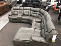 New Reclining Sectional Set. Grey Gel Leatherette. Free Delivery ! Culver City