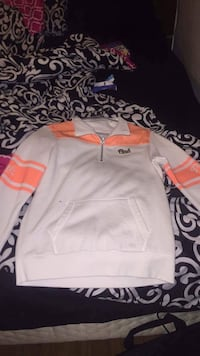 white and orange PINK by Victoria's Secret semi zip-up jacket