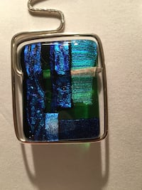 Sterling Silver free form Blue glass center Naperville, 60565