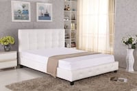 White tufted bed frame (Queen ) Vancouver, V6E 3V1