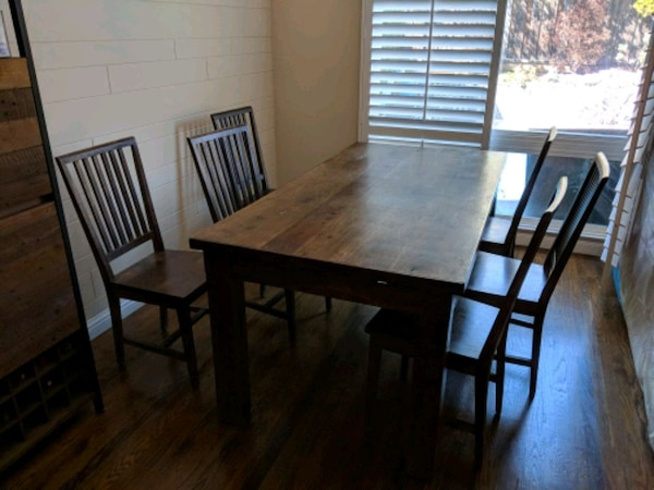 Used Vintage Dining Table And 6 Chairs Indian Teak Wood For Sale In