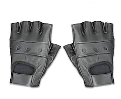 Leather Fingerless Motorcycle / Gym Premium Driving Gloves (X-Small)