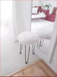 White Faux-Fur Stool or Side Table