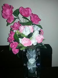 white and pink artificial roses centerpiece Rialto, 92376