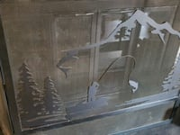 Great fireplace screen with fishing scene