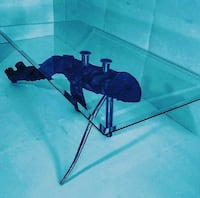 rectangular clear glass-top table with grey steel frame 2247 mi