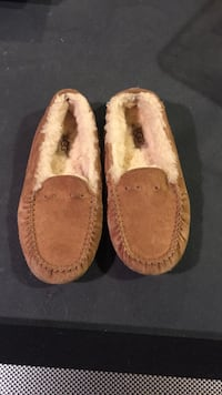 Pair of brown udd suede slip-on shoes