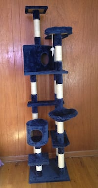 "80"" Cat Tree Play House Tower Condo Furniture Scratch Post Basket Dark Blue Northglenn"