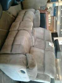 Beige fabric recliner sofa with cup holders Phoenix, 85018