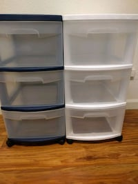 two white and blue plastic 3-drawer chests Bremerton, 98312