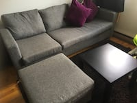 gray fabric sectional sofa with ottoman Montréal, H1M