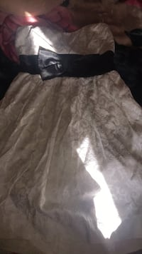 women's white and gray floral strapless dress 2054 mi