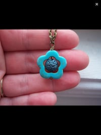 Turquoise flower diffuser necklace