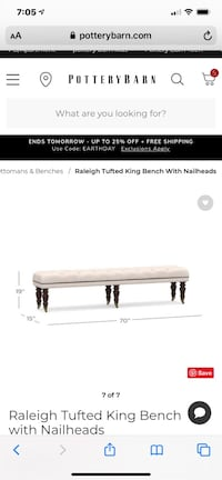 King Tufted upholstered Bench - Pottery Barn