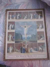 Rare Vintage 1920's The Way of the Cross Framed Art Lithograph Print