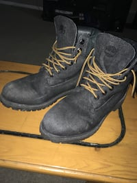 Black timberland leather work boots