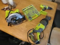 three Ryobi corded reciprocating saw, corded circular saw, and corded hand drill Urbana, 43078
