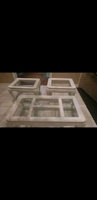 3 pce white wooden framed glass top coffee table s Whitby, L1N 9E2