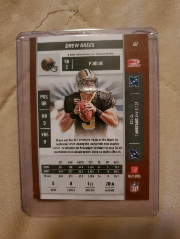 Playoff contender 2009 Drew Brees New Orleans Saints Season Ticket Car 1