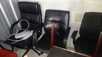two brown wooden framed black leather padded armchairs Oxon Hill, 20745