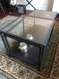 Glass coffee tables, set of 2