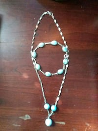 teal and white beaded necklace