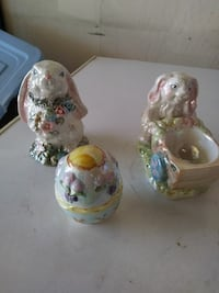 white ceramic rabbit figurines