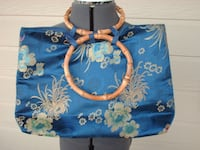 Blue Floral Chinese Purse with Bamboo Handles Moore