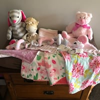 Baby Girl Blankets Bib Changing Pad Lovey Toys Large Lot  Haverhill, 01832