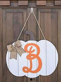 Mongram wood pumpkin Door sign Alto, 30510