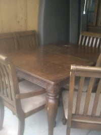 rectangular brown wooden table with chairs Bakersfield, 93313