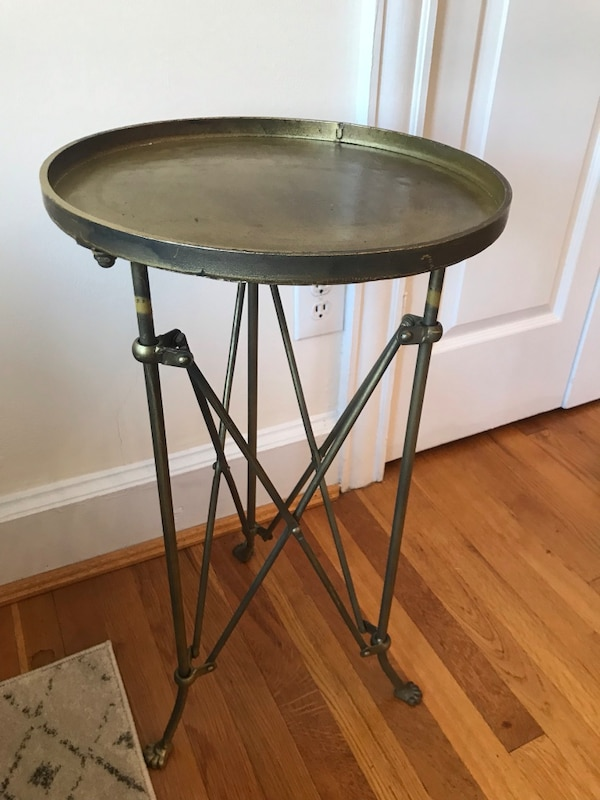 Brass accordion side table
