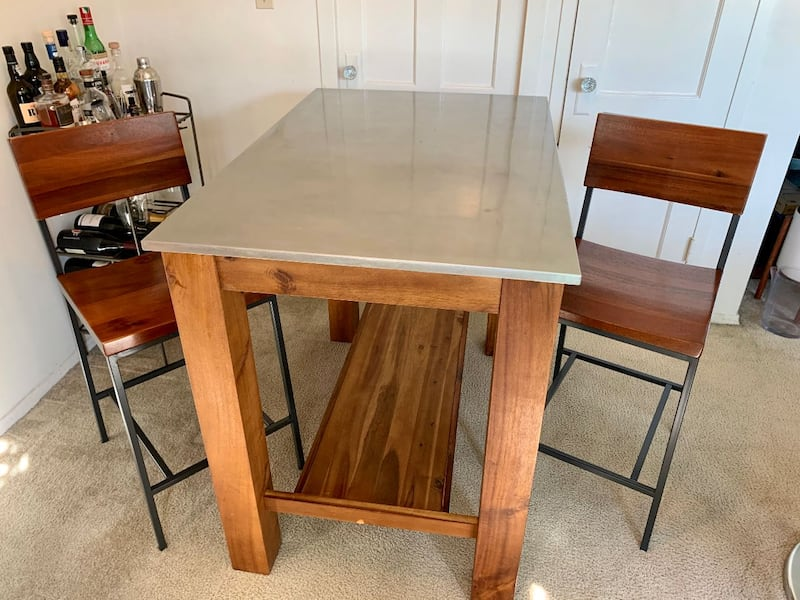 West Elm Rustic Wood Table with Stainless Steel Top 14045f2a-f415-451f-85cc-d1dfce4cca1f